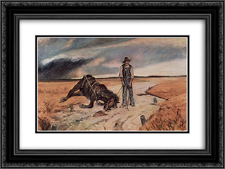Bauer mit zusammengebrochenem Pferd 24x18 Black or Gold Ornate Framed and Double Matted Art Print by Giovanni Fattori
