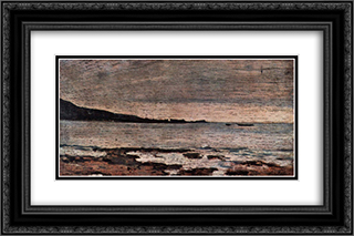 Bleifarbenes Meer 24x16 Black or Gold Ornate Framed and Double Matted Art Print by Giovanni Fattori