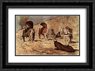 Carri romani 24x18 Black or Gold Ornate Framed and Double Matted Art Print by Giovanni Fattori