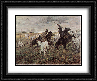 Cowboys and Herds in the Maremma 24x20 Black or Gold Ornate Framed and Double Matted Art Print by Giovanni Fattori