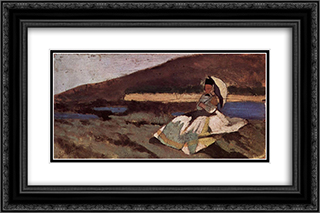 Dame im Freien sitzend 24x16 Black or Gold Ornate Framed and Double Matted Art Print by Giovanni Fattori