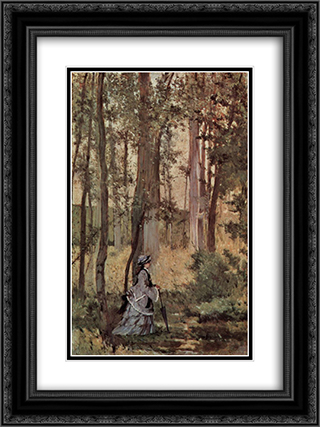 Dame im Wald 18x24 Black or Gold Ornate Framed and Double Matted Art Print by Giovanni Fattori