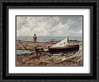 Der graue Tag (Strand mit Fischern und Booten) 24x20 Black or Gold Ornate Framed and Double Matted Art Print by Giovanni Fattori