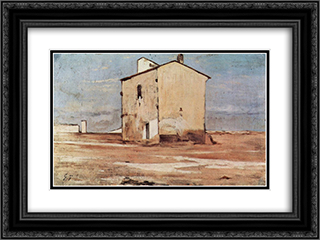 Der Schindanger in Livorno 24x18 Black or Gold Ornate Framed and Double Matted Art Print by Giovanni Fattori
