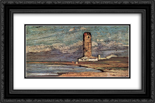 Der Turm von Magnale 24x16 Black or Gold Ornate Framed and Double Matted Art Print by Giovanni Fattori