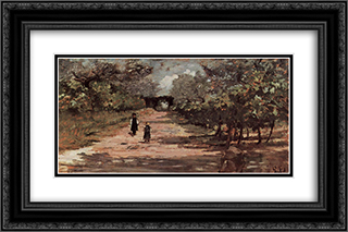 Die Baumallee mit zwei Kindern 24x16 Black or Gold Ornate Framed and Double Matted Art Print by Giovanni Fattori