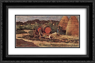 Die roten Fasser 24x16 Black or Gold Ornate Framed and Double Matted Art Print by Giovanni Fattori