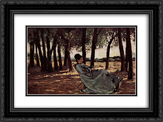 Frau Martelli in Castiglioncello 24x18 Black or Gold Ornate Framed and Double Matted Art Print by Giovanni Fattori