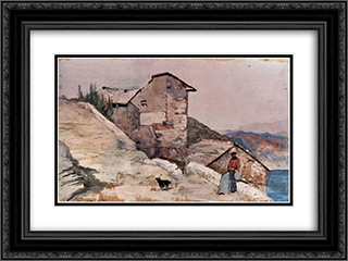 Gehoft in den Hugeln 24x18 Black or Gold Ornate Framed and Double Matted Art Print by Giovanni Fattori