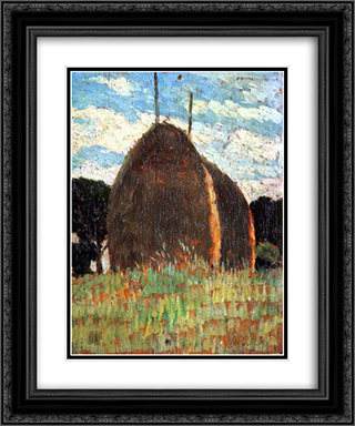 Hay Stacks 20x24 Black or Gold Ornate Framed and Double Matted Art Print by Giovanni Fattori