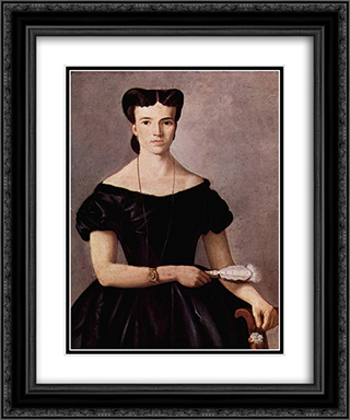 Lady with a Fan 20x24 Black or Gold Ornate Framed and Double Matted Art Print by Giovanni Fattori