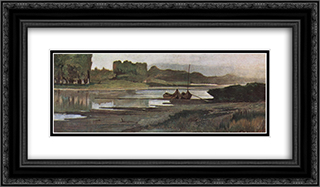 L'Arno presso Bellariva 24x14 Black or Gold Ornate Framed and Double Matted Art Print by Giovanni Fattori