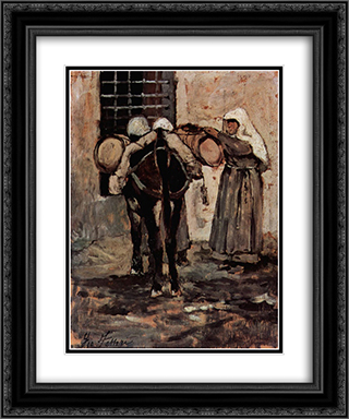 Nonne mit Esel 20x24 Black or Gold Ornate Framed and Double Matted Art Print by Giovanni Fattori