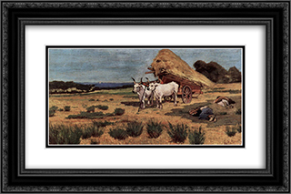 Pause in the Maremma with farmers and ox-cart 24x16 Black or Gold Ornate Framed and Double Matted Art Print by Giovanni Fattori
