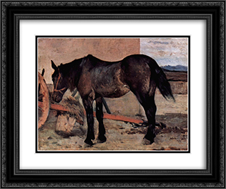 Pferd vor einem Wagen 24x20 Black or Gold Ornate Framed and Double Matted Art Print by Giovanni Fattori