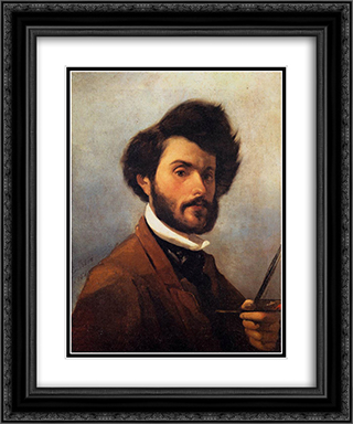 Self-portrait 20x24 Black or Gold Ornate Framed and Double Matted Art Print by Giovanni Fattori