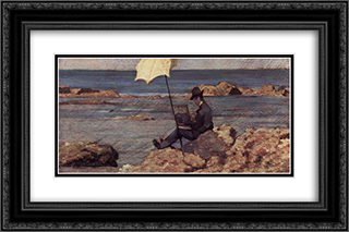 Silvestro Lega, nella pittura di Riva al Mare 24x16 Black or Gold Ornate Framed and Double Matted Art Print by Giovanni Fattori