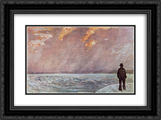 Sonnenuntergang am Meer 24x18 Black or Gold Ornate Framed and Double Matted Art Print by Giovanni Fattori
