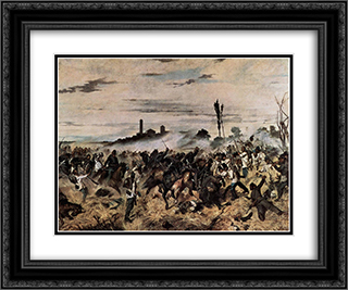 Storming of the Madonna della Scoperta 24x20 Black or Gold Ornate Framed and Double Matted Art Print by Giovanni Fattori