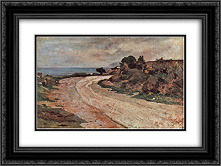 Strasse am Ufer des Meeres 24x18 Black or Gold Ornate Framed and Double Matted Art Print by Giovanni Fattori