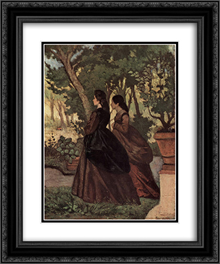 Zwei Damen im Garten von Castiglioncello 20x24 Black or Gold Ornate Framed and Double Matted Art Print by Giovanni Fattori