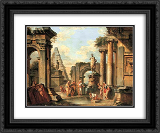 A capriccio of classical ruins with Diogenes throwing away his cup 24x20 Black or Gold Ornate Framed and Double Matted Art Print by Giovanni Paolo Panini