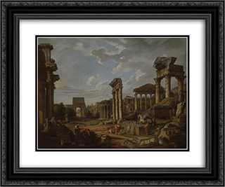 A Capriccio of the Roman Forum 24x20 Black or Gold Ornate Framed and Double Matted Art Print by Giovanni Paolo Panini