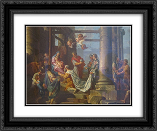 Adoration of the Shepherds, Adoration of the Magi 24x20 Black or Gold Ornate Framed and Double Matted Art Print by Giovanni Paolo Panini