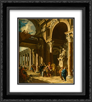Alexander the Great Cutting the Gordian Knot 20x22 Black or Gold Ornate Framed and Double Matted Art Print by Giovanni Paolo Panini
