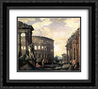 Ancient Roman Ruins 22x20 Black or Gold Ornate Framed and Double Matted Art Print by Giovanni Paolo Panini