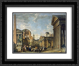 Architectural Capriccio 24x20 Black or Gold Ornate Framed and Double Matted Art Print by Giovanni Paolo Panini
