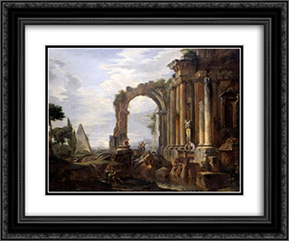 Capriccio of Classical Ruins 24x20 Black or Gold Ornate Framed and Double Matted Art Print by Giovanni Paolo Panini