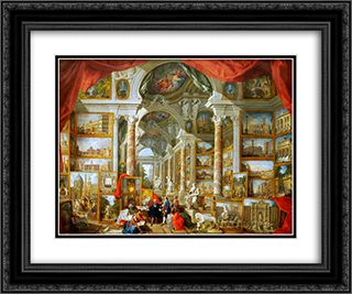 Gallery of Views of Modern Rome 24x20 Black or Gold Ornate Framed and Double Matted Art Print by Giovanni Paolo Panini