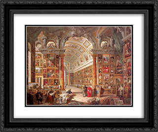 Interior of a Picture Gallery with the Collection of Cardinal Silvio Valenti Gonzaga 24x20 Black or Gold Ornate Framed and Double Matted Art Print by Giovanni Paolo Panini