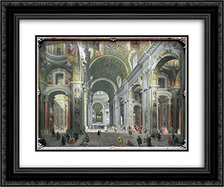 Interior of St. Peter's, Rome 24x20 Black or Gold Ornate Framed and Double Matted Art Print by Giovanni Paolo Panini