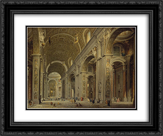 Interior of St Peter's in Rome 24x20 Black or Gold Ornate Framed and Double Matted Art Print by Giovanni Paolo Panini