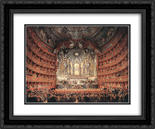 Musical Fete 24x20 Black or Gold Ornate Framed and Double Matted Art Print by Giovanni Paolo Panini