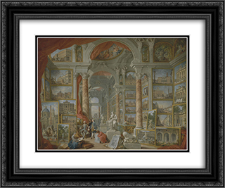 Picture Gallery with Views of Modern Rome 24x20 Black or Gold Ornate Framed and Double Matted Art Print by Giovanni Paolo Panini