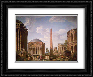 Roman Capriccio The Pantheon and Other Monuments 24x20 Black or Gold Ornate Framed and Double Matted Art Print by Giovanni Paolo Panini