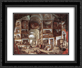 Roman ruins and sculpture 24x20 Black or Gold Ornate Framed and Double Matted Art Print by Giovanni Paolo Panini