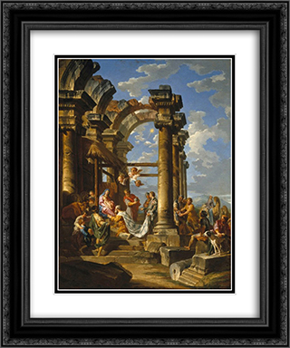 The Adoration of the Magi 20x24 Black or Gold Ornate Framed and Double Matted Art Print by Giovanni Paolo Panini