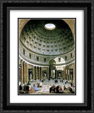 The interior of the Pantheon (Rome) 20x24 Black or Gold Ornate Framed and Double Matted Art Print by Giovanni Paolo Panini