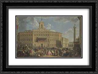 The Lottery at Palazzo Montecitorio 24x18 Black or Gold Ornate Framed and Double Matted Art Print by Giovanni Paolo Panini