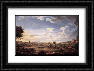 View of Rome from Mt. Mario, in the Southeast 24x18 Black or Gold Ornate Framed and Double Matted Art Print by Giovanni Paolo Panini