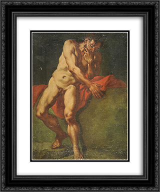 Nudo maschile 20x24 Black or Gold Ornate Framed and Double Matted Art Print by Giulia Lama