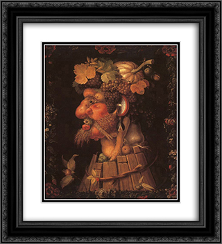 Autumn 20x22 Black or Gold Ornate Framed and Double Matted Art Print by Giuseppe Arcimboldo