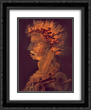 Fire 20x24 Black or Gold Ornate Framed and Double Matted Art Print by Giuseppe Arcimboldo