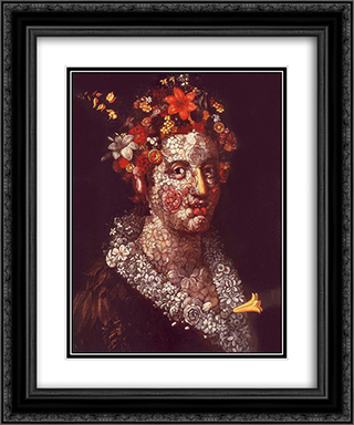 Flora 20x24 Black or Gold Ornate Framed and Double Matted Art Print by Giuseppe Arcimboldo