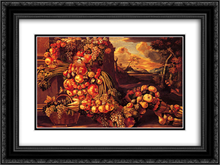 Seated Figure of Summer 24x18 Black or Gold Ornate Framed and Double Matted Art Print by Giuseppe Arcimboldo