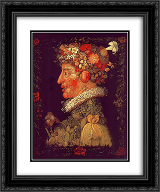 Spring 20x24 Black or Gold Ornate Framed and Double Matted Art Print by Giuseppe Arcimboldo